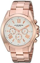 Akribos XXIV Women's Multi-Function Rose Gold Tone Case on Rose Gold Tone Stainless Steel Bracelet White Dial with Rose Gold Tone Hands Watch AK951RG