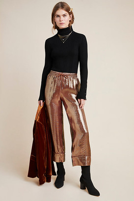Cynthia Rowley Metallic Silk Wide-Leg Pants By in Beige Size XS
