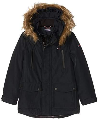 Tommy Hilfiger Boy's THKB Technical THERMORE Parka Jacket, (Tommy Black 014), (Size: 10)