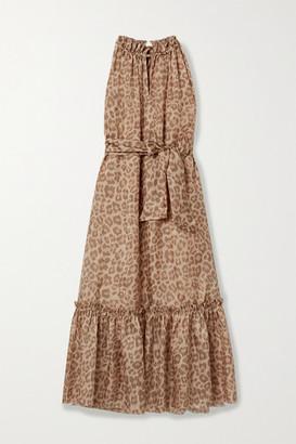 Zimmermann Kirra Belted Tiered Leopard-print Silk Midi Dress - Leopard print