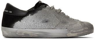 Golden Goose Silver and Black Suede Superstar Sneakers