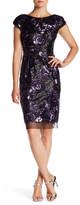 Vera Wang Floral Sequin Sheath Dress