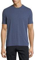 Emporio Armani Short-Sleeve Squared Pattern Crewneck T-Shirt