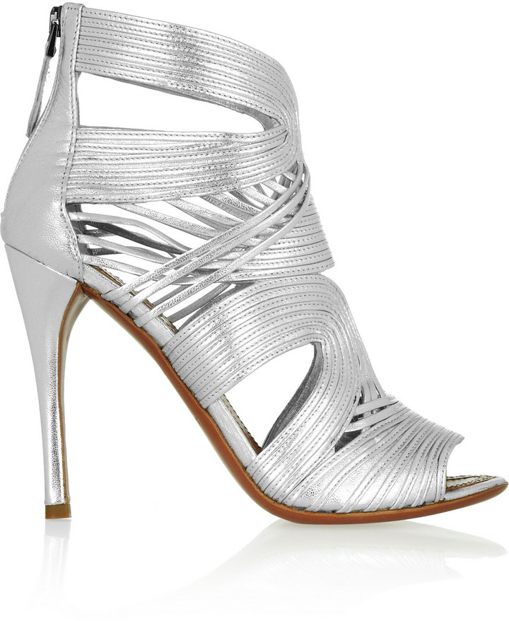 Alaia Multi-strap metallic leather sandals
