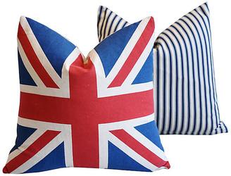 One Kings Lane Vintage French Ticking & Union Jack Pillows - Set of 2