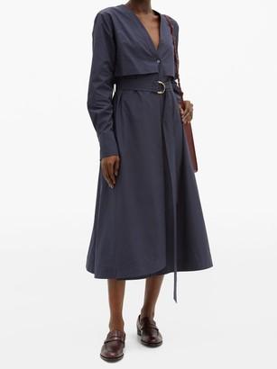 Another Tomorrow - Belted Organic Cotton-poplin Shirt Dress - Womens - Navy