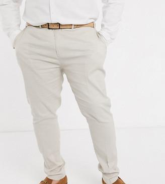 Asos DESIGN Plus wedding super skinny suit pants in stretch cotton linen in stone