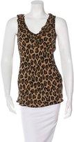 Tory Burch Silk Cheetah Print Sleeveless Top