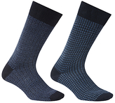 John Lewis Made In Italy Merino Wool Ditsy Socks, Pack Of 2, Navy