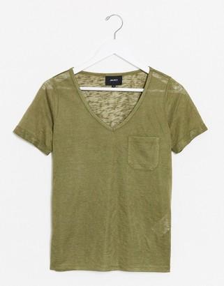 Object V neck t-shirt in khaki