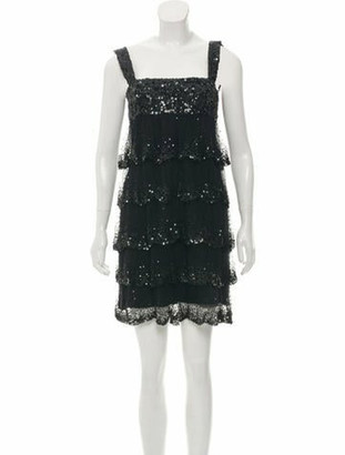 Elie Saab Sequin Mini Dress Black