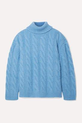 Mansur Gavriel Oversized Cable-knit Alpaca-blend Turtleneck Sweater - Light blue