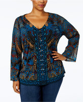 INC International Concepts Plus Size Lace-Up Bell-Sleeve Printed Top, Created for Macy's