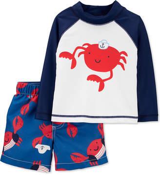 Carter's Carter Baby Boys 2-Pc. Crab Rash Guard & Swim Shorts Set