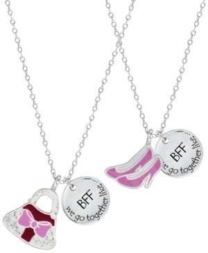 Rhona Sutton 4 Kids Children's Shoes Purse Best Friends Two Piece Necklace Set in Sterling Silver