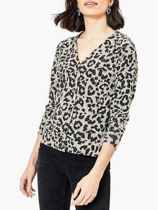 Oasis Leopard Print V-Neck Cardigan, Multi