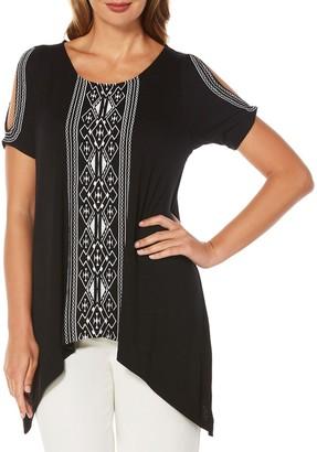 Rafaella Women's Embroidered Slub Cold Shoulder Top