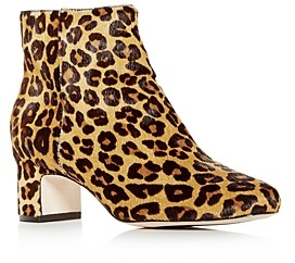 Joan Oloff Women's Aeron Leopard Print Calf Hair Block-Heel Booties