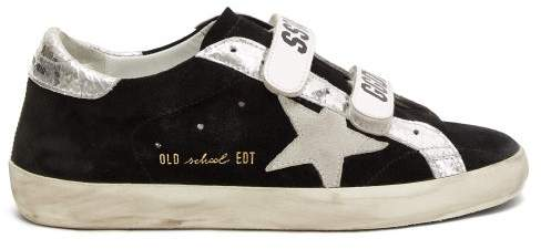 Golden Goose Old School Logo Strap Suede Trainers - Womens - Black Silver