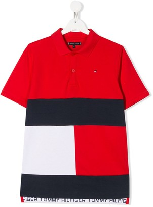 Tommy Hilfiger Junior TEEN colour-block flag polo top