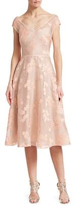 Lela Rose Open Neck Fil Coupe Floral Fit--Flare Dress