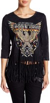 Affliction Metal Scoop Neck Fringed Tee