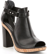 Lauren Ralph Lauren Fiana Leather Buckle Strap Peep Toe Block Heel Booties