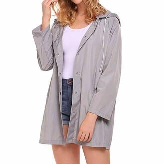 Rikay Women Coat Rikay Ladies Womens Raincoat Waterproof Portable Rain Jacket Hooded Lightweight Windproof Rain Coat Plus Size S-XL Gray