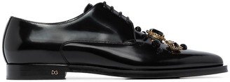 Dolce & Gabbana Millennial crystal-embellished leather derby shoes