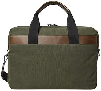 Shinola Detroit Mack Brief Waxed Canvas/Navigator GM (Black) Briefcase Bags