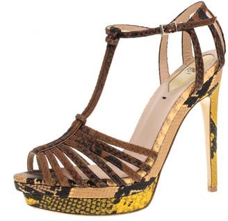 Fendi Multicolor Snake Embossed Cork Platform Strappy Peep Toe Ankle Strap Sandals Size 38.5