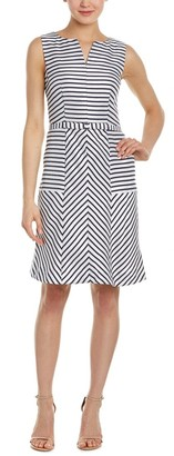 Taylor Dresses Women's Placement Stripe Fit and Flare Belted Dress