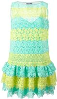 Moschino striped macramé lace dress