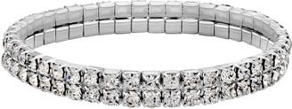 1928 Silver-Tone Clear Crystal Two-Row Rhinestone Stretch Bracelet