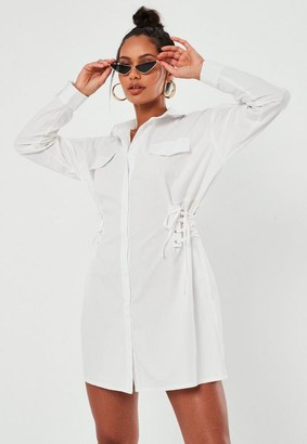 Missguided White Lace Up Side Shirt Dress