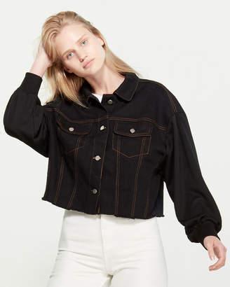 Lush French Terry Sleeve Denim Jacket