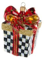 Mackenzie Childs Courtly Cheer Check Box Ornament