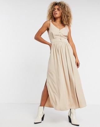 Vila tie shoulder smock dress in tan