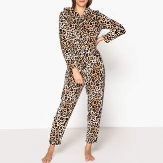 La Redoute Collections Extra Warm Faux Leopard Onesie with Animal Hood and Tail