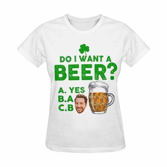 Artsadd St.Patrick's Day Custom Women's T-Shirt Pesonalized with Face Change Design Your Own Style Short Sleeve T-Shirt