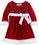 Bonnie Jean Toddler Girl Sequin Bow Santa Dress