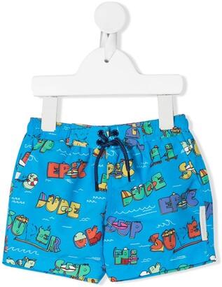 Stella McCartney Super Dude print swim shorts
