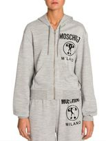 Moschino Hooded Zip Logo Sweatshirt