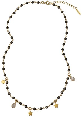 ADORNIA 14K Yellow Gold Vermeil Pyrite Beaded Star & Crystal Charm Rosary Necklace