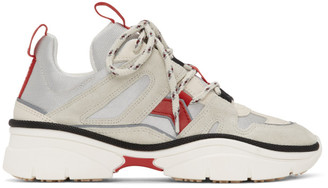 Isabel Marant Off-White and Red Kindsay Sneakers