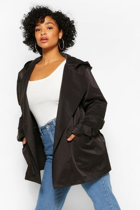 boohoo Plus Tie Waist Hooded Lightweight Parka