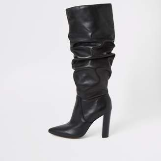 River Island Womens Black leather slouch heel boot