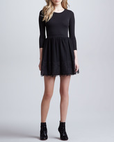 RED Valentino Crepe Jersey Dress with Chantilly Lace Skirt, Black