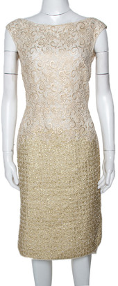 Giambattista Valli Gold & Cream Floral Lace Paneled Sheath Dress S