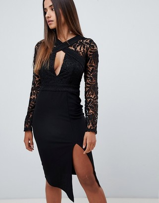 Love Triangle cut work lace top midi pencil dress in black